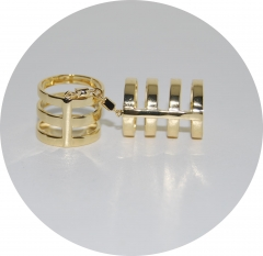 Кольца в стиле Репоси золотые