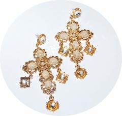Серьги Кресты в стиле D&G золотые