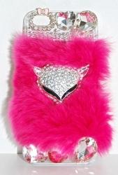 Чехол меховой для iPhone 5 розовый