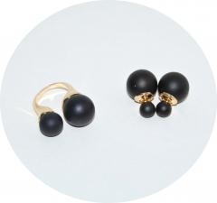 Набор кольцо и серьги черный матовый