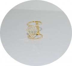 Позолоченное кольцо Кристалл