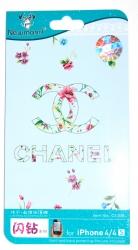 Защитная пленка Шанель для iPhone 4S голубая