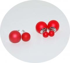 Набор кольцо и серьги красный матовый
