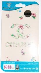 Защитная пленка Шанель для iPhone 4S розовая