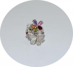 Кольцо Бабочка с цветочком