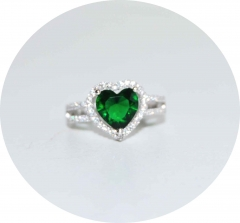 Кольцо в стиле Тиффани сердце зеленое