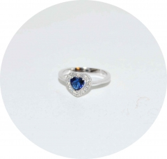 Кольцо Сердечко с синим камнем