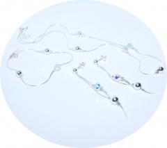 Цепочка серьги и браслет с кристаллами