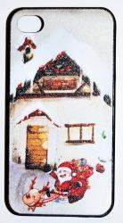 Чехол новогодний домик для iPhone 4