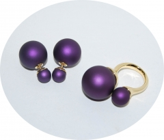 Комплект кольцо и пусеты фиолетовый
