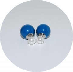 Пусеты шарики Dior сине жемчужные