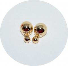 Серьги Диор шарики металлизированные золото