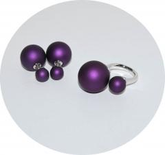 Комплект пусеты и кольцо фиолетовый