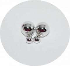 Серьги Диор шарики металлизированные серебро