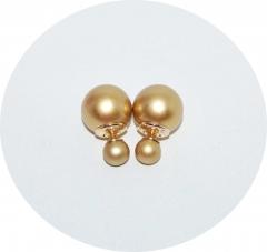 Серьги Диор шарики золотые матовые