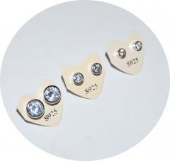 Пусеты серебряные с камнями