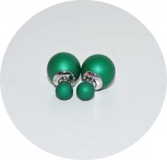 Серьги Диор шарики матовые зеленые