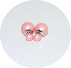 Серьги Диор шарики розовые