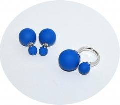 Комплект пусеты и кольцо голубой