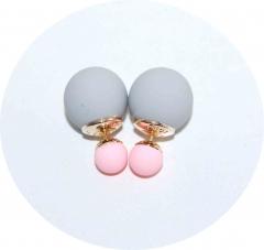 Серьги Dior серые с розовым матовые
