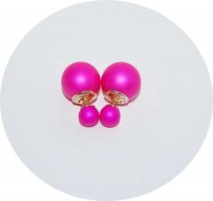 Серьги Диор шарики кислотный розовый