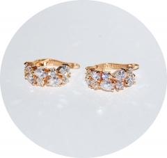 Серьги золотые с камнями