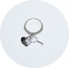 Кольцо Сердечко и ключик