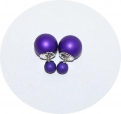 Серьги Диор шарики фиолетовые матовые
