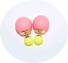 Серьги Dior розовые с желтым матовые