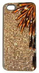 Чехол со стразами для iPhone 5S лучи бронза