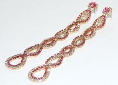 Серьги длинные розовые