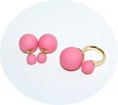 Комплект пусеты и кольцо розовый