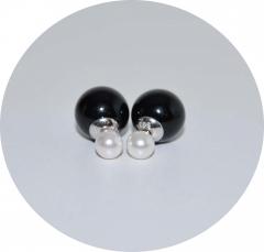Серьги Mise En Dior черный и жемчуг 925