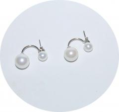 Серебряные серьги два шарика