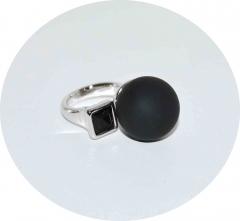 Кольцо в стиле Диор черное матовое