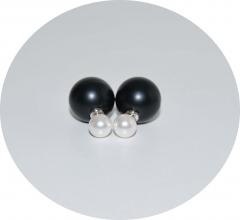 Серьги Mise En Dior черный матовый и жемчуг 925