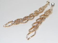 Серьги длинные Лепестки золотые