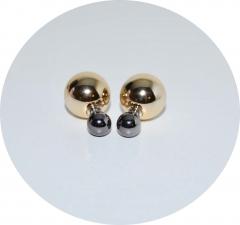 Серьги Mise En Dior зеркальные золотые 925