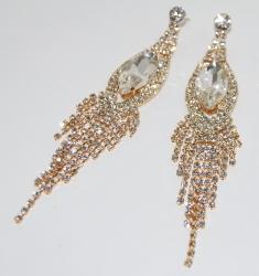 Серьги длинные с камнем золотые