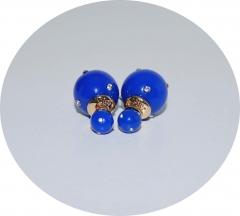 Серьги шарики синие со стразами
