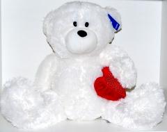 Медведь с сердцем 42 см белый