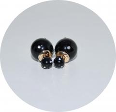Серьги шарики черные со стразами