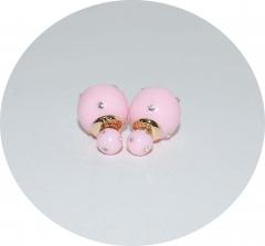 Серьги шарики розовые со стразами
