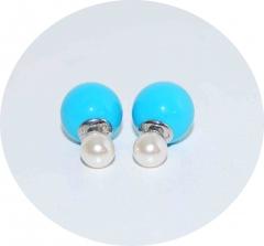 Серьги Mise En Dior голубой и жемчуг