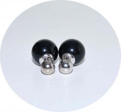 Серьги Диор серебро и черный 925