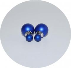 Серьги шарики синие матовые