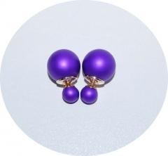 Серьги Диор шарики матовые фиолетовые