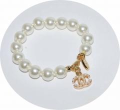 Жемчужный браслет в стиле Шанель золотой