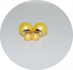 Серьги Диор шарики матовые золотые