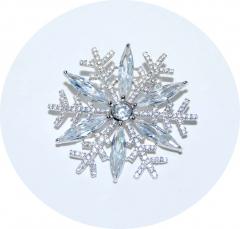 Серебряная брошь Снежинка